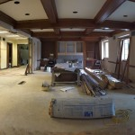 Inside the new entrance, the former Chapel takes shape as the new welcome area, which will open out the new office space.