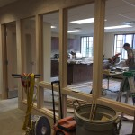 Cabinets have been installed in the new main office.