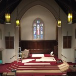Carpet is being laid down on the new Chancel.
